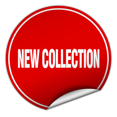 new collection: new collection round red sticker isolated on white