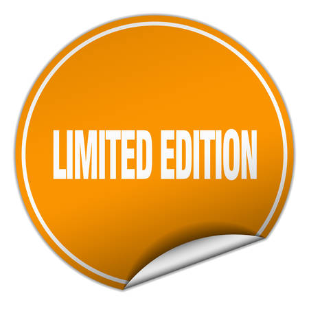 limited edition: limited edition round orange sticker isolated on white