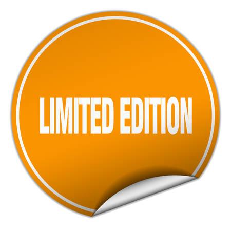 edition: limited edition round orange sticker isolated on white