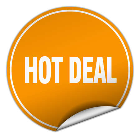 hot deal: hot deal round orange sticker isolated on white