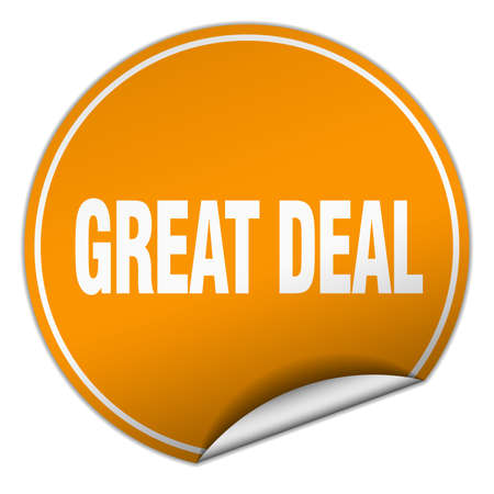 great deal: great deal round orange sticker isolated on white