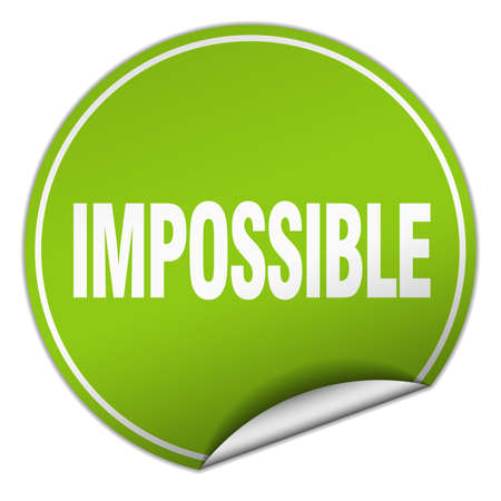 impossible: impossible round green sticker isolated on white