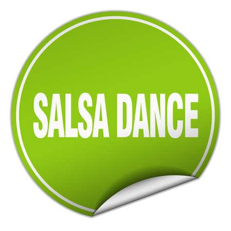 salsa dance: salsa dance round green sticker isolated on white Illustration