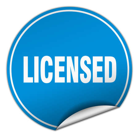 licensed: licensed round blue sticker isolated on white