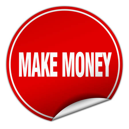 make money: make money round red sticker isolated on white