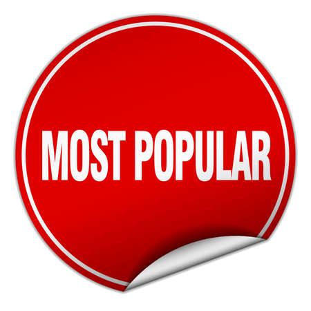 most popular: most popular round red sticker isolated on white
