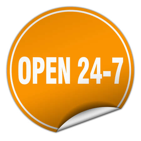 nonstop: open 24 7 round orange sticker isolated on white