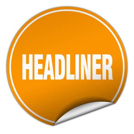 headliner: headliner round orange sticker isolated on white Illustration