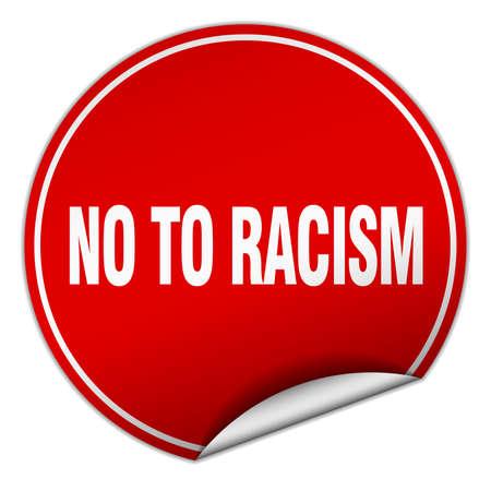 racismo: no al racismo pegatina rojo aislado en blanco