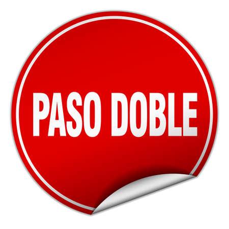 paso doble: paso doble round red sticker isolated on white