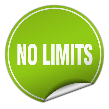 no limits: no limits round green sticker isolated on white Illustration