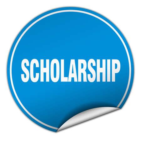 scholarship: scholarship round blue sticker isolated on white Illustration