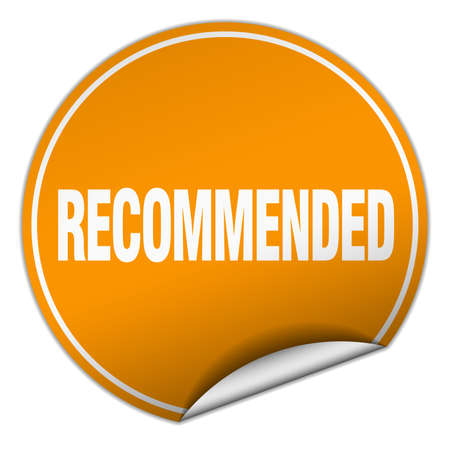 recommended: recommended round orange sticker isolated on white