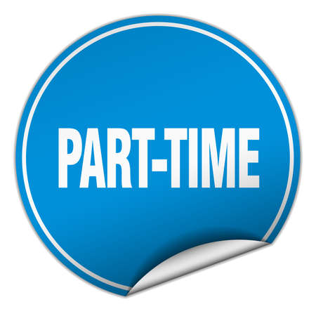 part time: part-time round blue sticker isolated on white Illustration