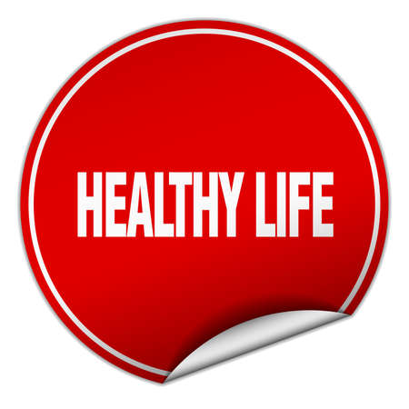 healthy  life: healthy life round red sticker isolated on white