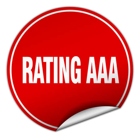 aaa: rating aaa round red sticker isolated on white Illustration