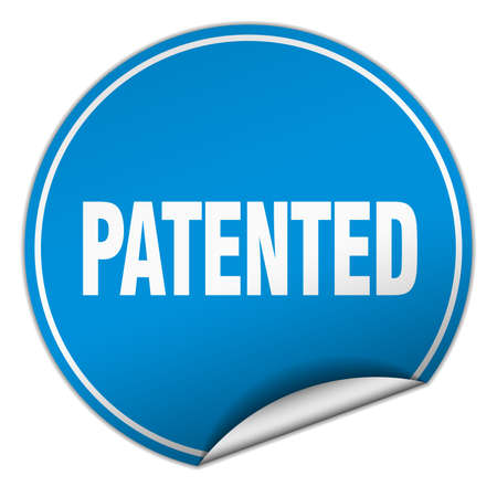 copyrighted: patented round blue sticker isolated on white