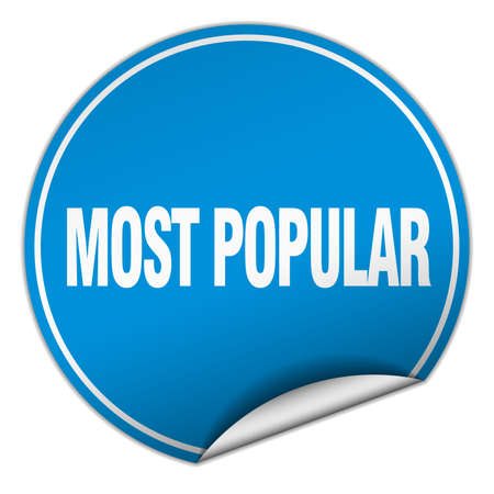most popular: most popular round blue sticker isolated on white