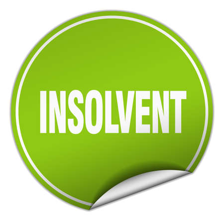 insolvent: insolvent round green sticker isolated on white Illustration
