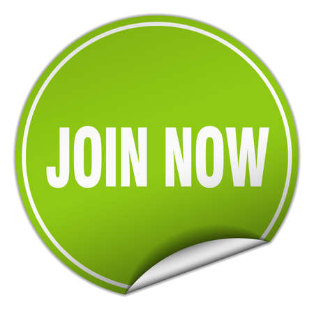 join now: join now round green sticker isolated on white