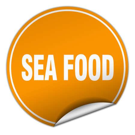 sea food: sea food round orange sticker isolated on white