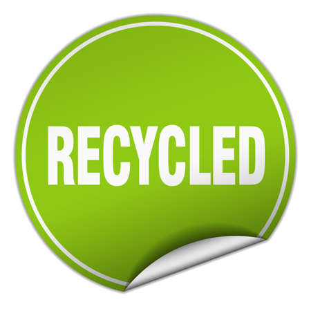 recycled: recycled round green sticker isolated on white Illustration