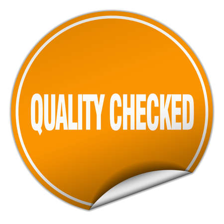 checked: quality checked round orange sticker isolated on white Illustration