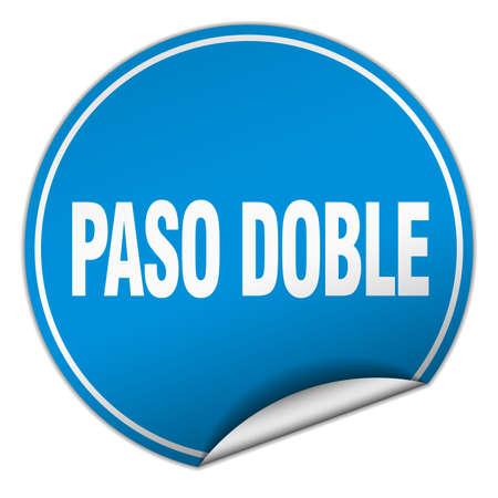 paso doble: paso doble round blue sticker isolated on white