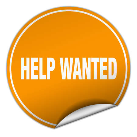 help wanted sign: help wanted round orange sticker isolated on white