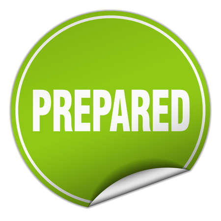prepared: prepared round green sticker isolated on white