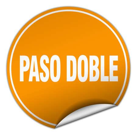 paso doble: paso doble round orange sticker isolated on white Illustration