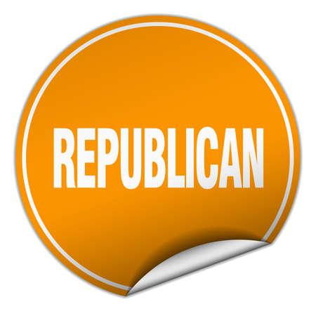 republican: republican round orange sticker isolated on white