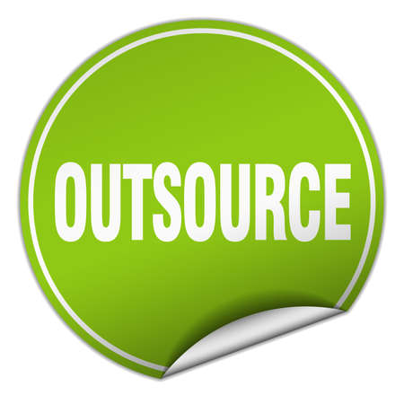 outsource: outsource round green sticker isolated on white