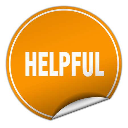 helpful: helpful round orange sticker isolated on white