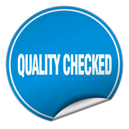 checked: quality checked round blue sticker isolated on white