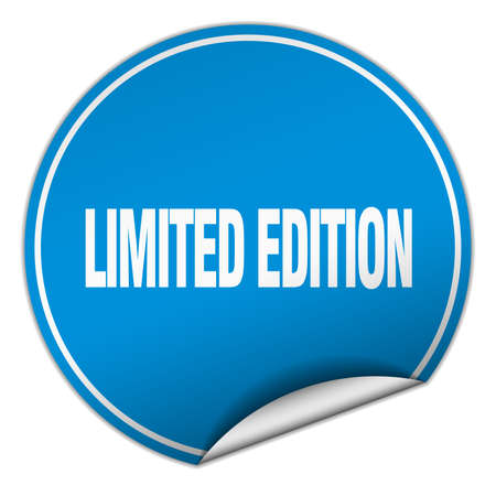 limited edition: limited edition round blue sticker isolated on white