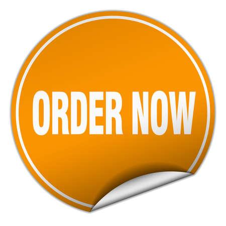 order now: order now round orange sticker isolated on white