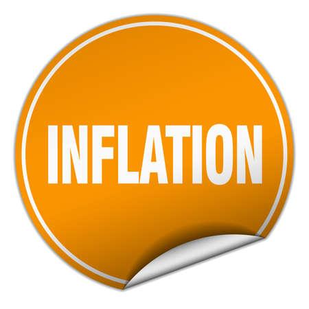 inflation: inflation round orange sticker isolated on white Illustration
