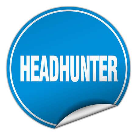 headhunter: headhunter round blue sticker isolated on white