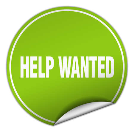 help wanted: help wanted round green sticker isolated on white