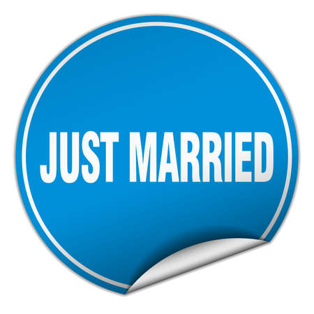 just: just married round blue sticker isolated on white Illustration