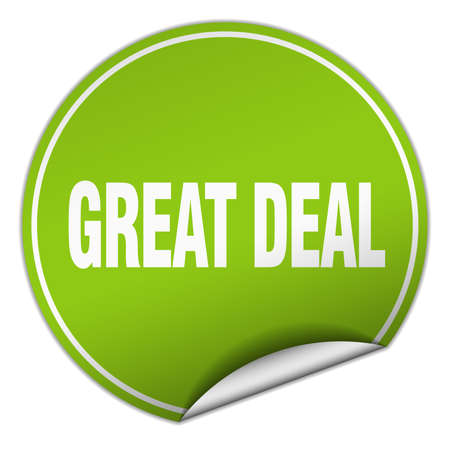 great deal: great deal round green sticker isolated on white
