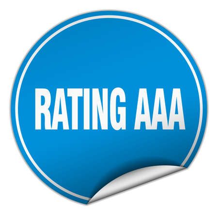 aaa: rating aaa round blue sticker isolated on white
