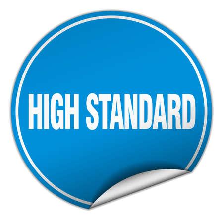 standard: high standard round blue sticker isolated on white