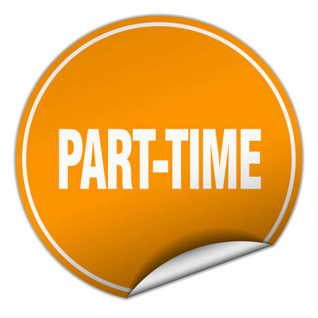 part time: part-time round orange sticker isolated on white Illustration