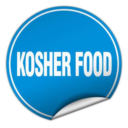 kosher: kosher food round blue sticker isolated on white Illustration