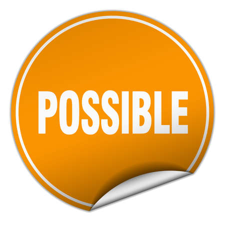 possible: possible round orange sticker isolated on white Illustration