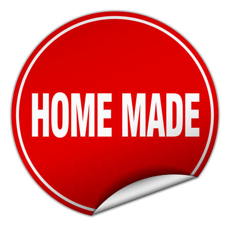 home made: home made round red sticker isolated on white Illustration