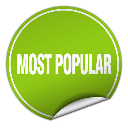 most popular: most popular round green sticker isolated on white