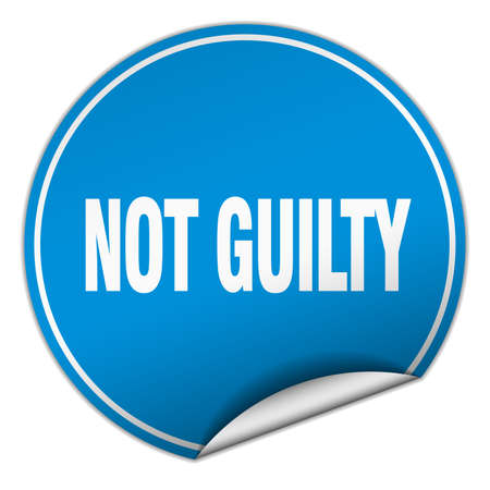 guilty: not guilty round blue sticker isolated on white Illustration